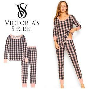 NWT Victoria's Secret Thermal Check Pajamas Set